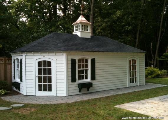 12' x 20' Custom Hip Roof Shed (vinyl siding)