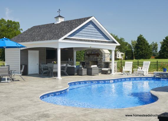 20' x 24' Custom Avalon Pool House with cupola & stone fireplace