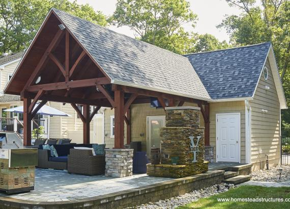 16x24 Custom Liberty Pool House with 14x20 Timber Frame Pavilion Attached in NJ