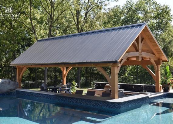 12' x 25' Timber Frame Pavilion with swim-up bar