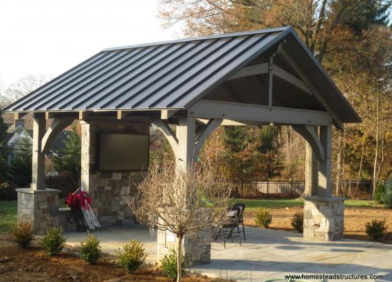 14' x 14' Custom Red Cedar Timber Frame Pavilion in Bryn Mawr, PA