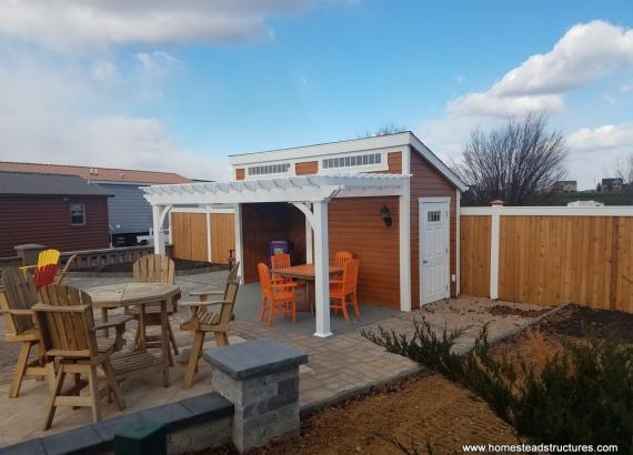 14x16 Custom Avalon pool house with pergola over porch area