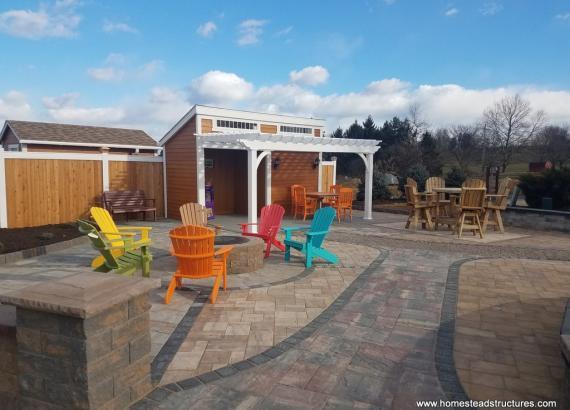14x16 Custom Avalon pool house with pergola