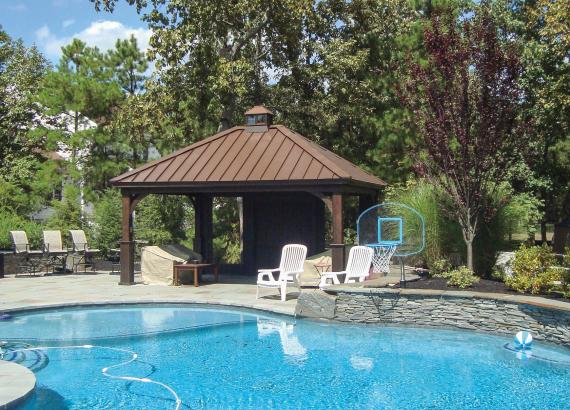 14' x 18' Keystone Wood Pavilion by the pool in cinder stain