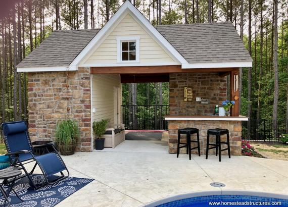 14' x 20' Custom Pool House with Stone Facade in Virginia