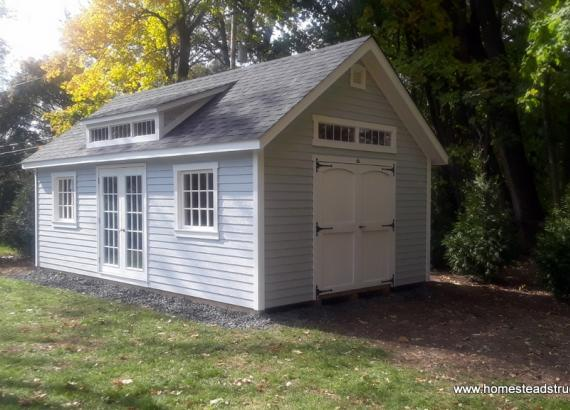 14' x 24' Century Shed with A-Frame Roof and transom windows in Short Hills, NJ