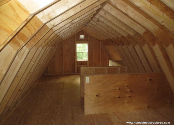 2nd floor of 14' x 24' Liberty Dutch Barn with cedar shake siding