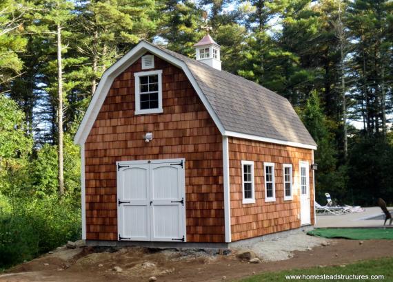 14' x 24' Liberty Dutch Barn with cedar shake siding