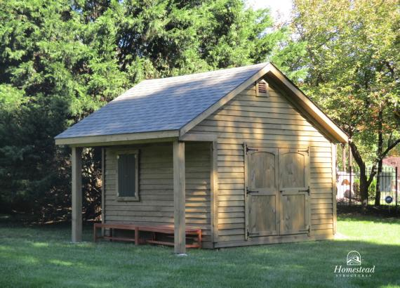 15' x 12' Classic A-Frame Wood Shed with 3' porch overhang