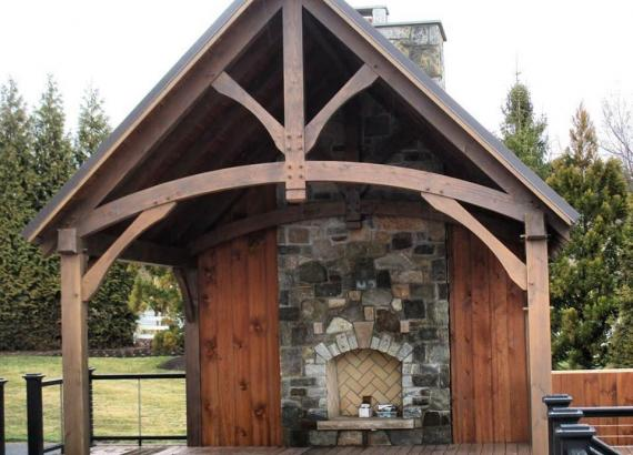 15' x 15' Timber Frame Pavilion with Fireplace & Outdoor Kitchen & 1400+ sq ft Trex Deck