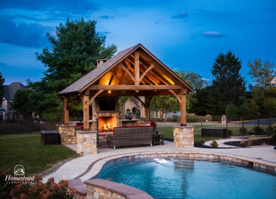 16' x 14' Timber Frame Pavilion in PA with fireplace