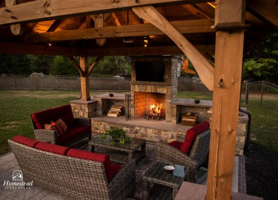 Interior of 16' x 14' Timber Frame Pavilion with fireplace in PA