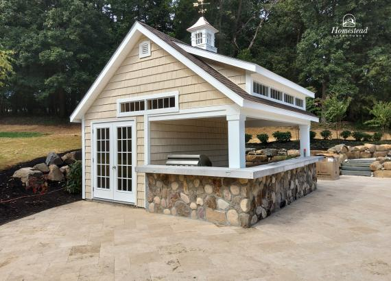 16' x 16' Custom Heritage Pool House with Pool Bar & Outdoor Kitchen