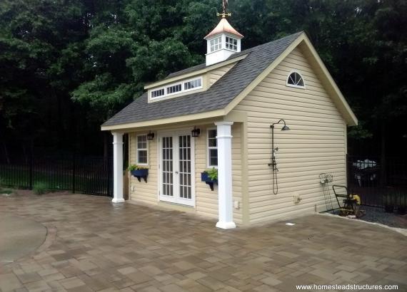 16' x 16' Heritage Century Pool House with vinyl siding