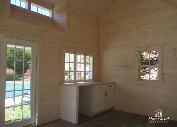 White-washed Pine Interior of 16' x 16' Heritage Century Pool House in Moorestown, NJ