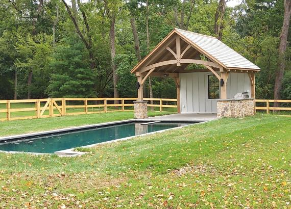 16' x 16' Timber Frame Pavilion with Back Wall & Outdoor Kitchen & Bar
