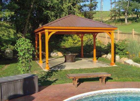 16' x 20' Keystone Wood Pavilion with Cedar Stain