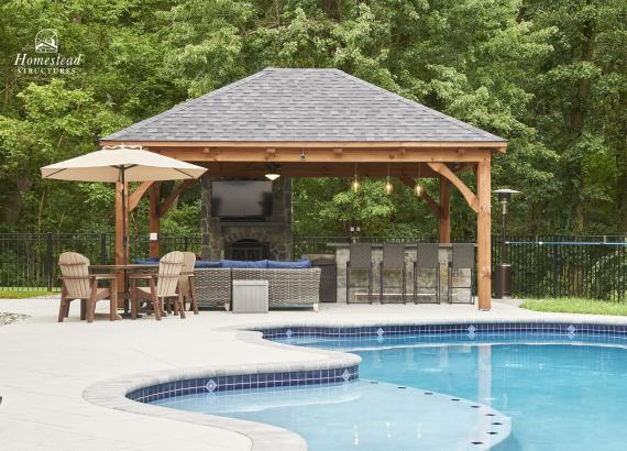 16' x 20' Timber Frame Pavilion with fireplace & hip roof in Royersford, PA