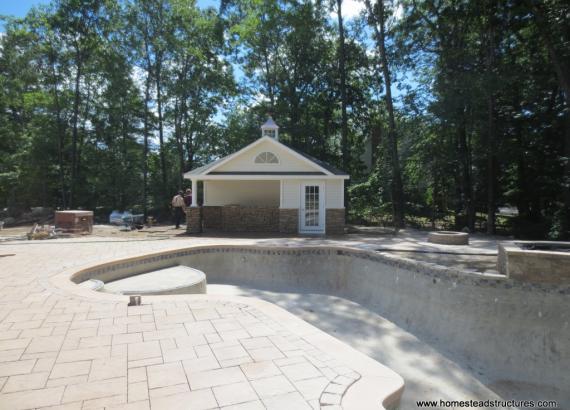 16' x 20' Wellington Pool House with Stone Facade