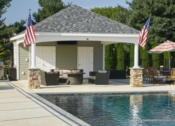 16' x 24' Avalon Pool House with Stone Footers Mullica Hill NJ