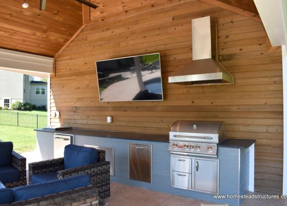 Built in counter/bar in 16x24 Avalon Pool House