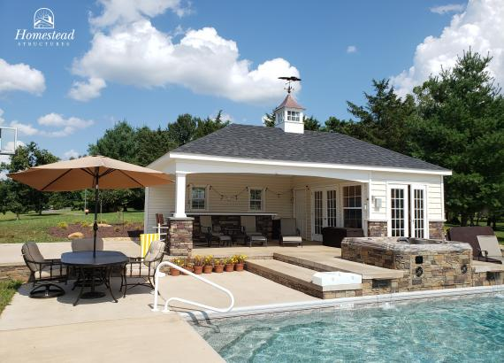 16' x 30' Avalon Pool House with Hip Roof in Oakton, VA