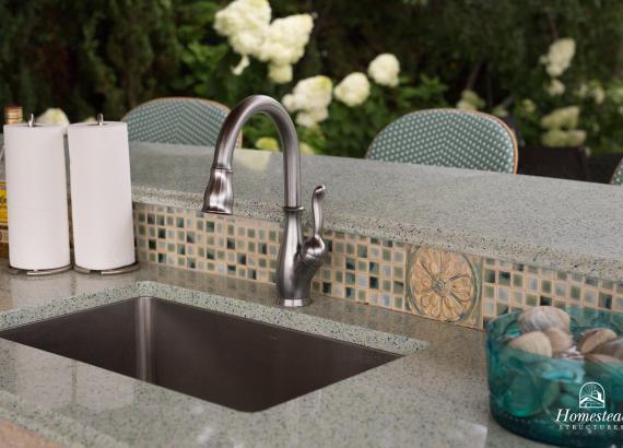 18' x 18' Custom Vintage Pavilion detail of sink & backsplash