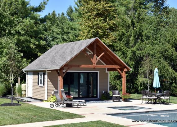18' x 22' Custom Century Pool House with extended timberframe overhang in Gwynedd Valley PA