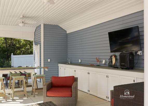 Interior of 18'x30' Avalon Pool House in NJ with bar counter & cabinets