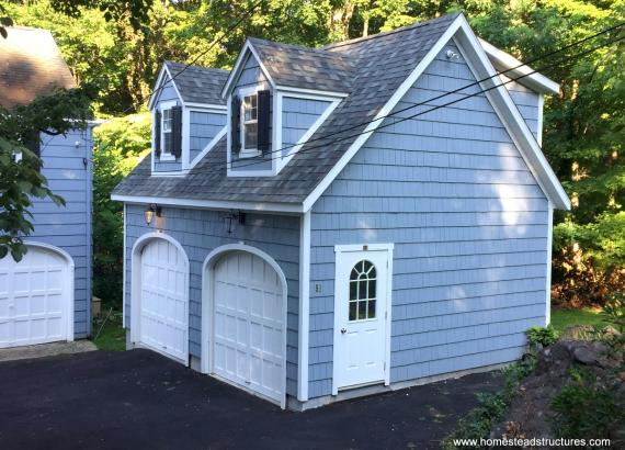 18' x 21' 2 story 2-car garage with cedar shake siding