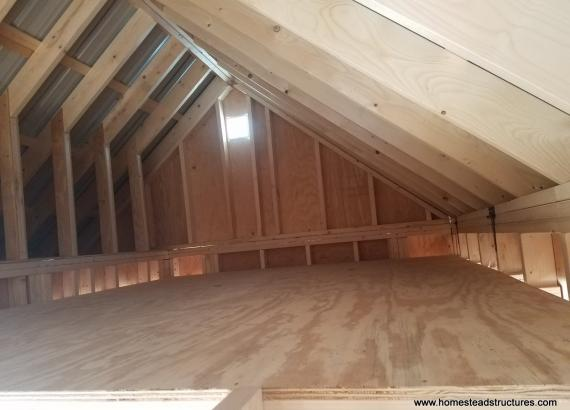 Unfinished Interior Loft of 12x17 Heritage Pool House