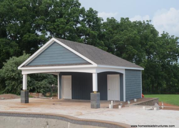 20' x 26' Avalon Pool House with A-Frame Reverse (Hardie Plank siding)