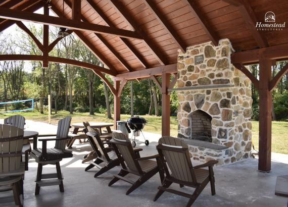 20' x 32' Timber Frame Pavilion with fireplace in Oxford PA