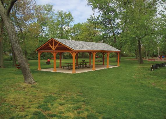 20' x 40' Custom Keystone Wood Pavilion with Open Gable