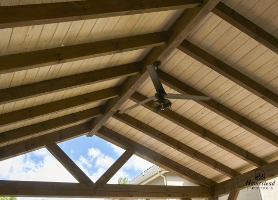 Ceiling of 22' x 22' Timber Frame Pavilion with Bar & Fireplace in Newtown, PA