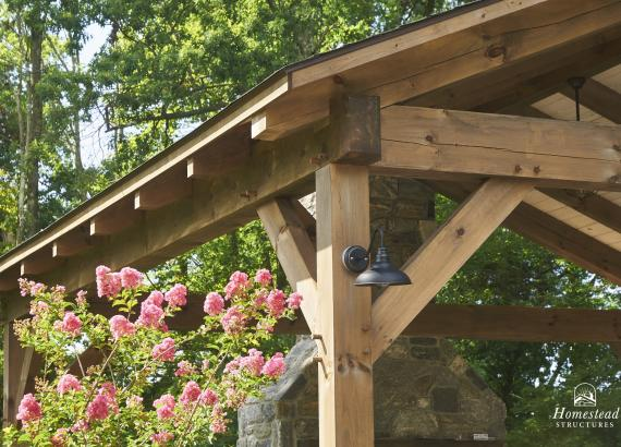 Post & Gable Detail of 22' x 22' Timber Frame Pavilion with Bar & Fireplace in Newtown, PA
