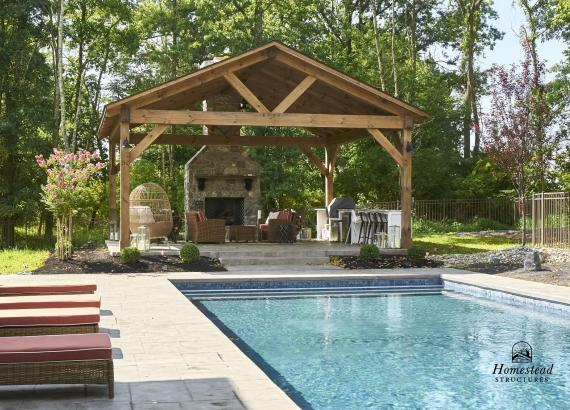 22' x 22' Timber Frame Pavilion with Bar & Fireplace in Newtown, PA