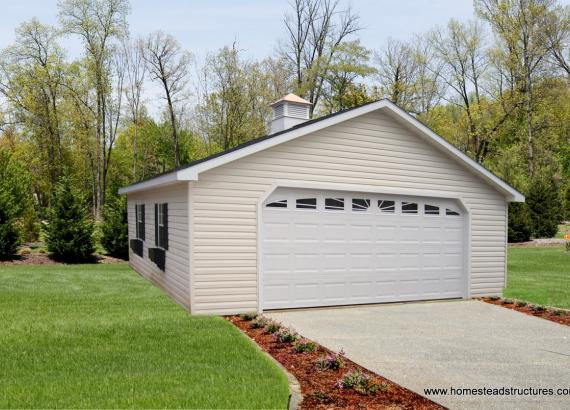 24' x 24' Classic a-frame garage with carriage door