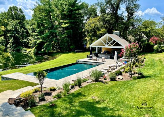 26' x 29' Custom A-Frame Pool House with Pavilion & Outdoor Kitchen