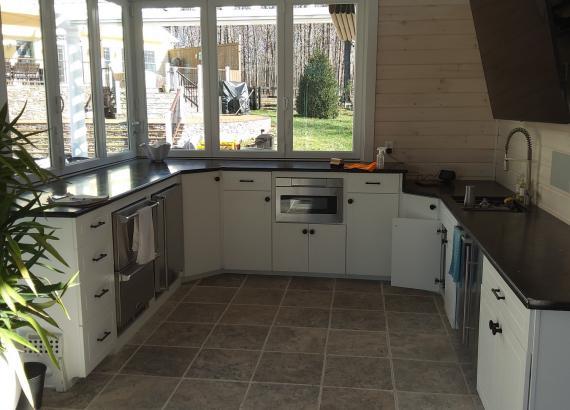 Finished Outdoor/Indoor Kitchen of 30' x 32' Custom Pool House with Origin Bi-Fold Doors