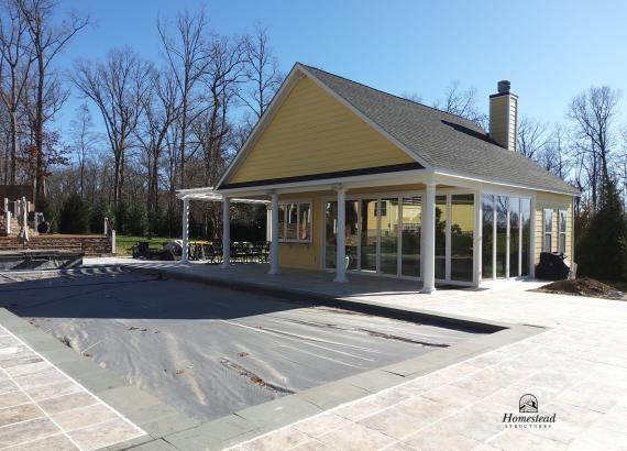30' x 32' Custom Pool House with Origin Bi-Fold Doors & Snack Window
