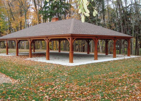 35' x 60' Extra Large Custom Keystone Wood Pavilion with cupola