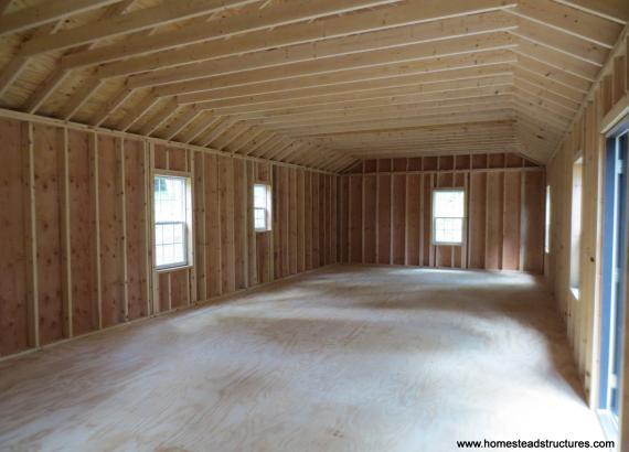 18' x 40' Custom Classic Shed interior in Hartwick NY