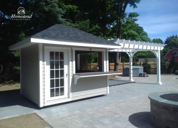 8' x 10' Classic Hip Concession Stand with 8' x 16' Pergola