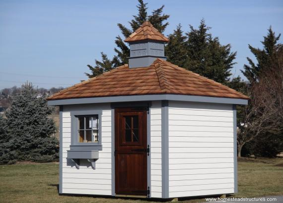 8' x 10' Classic Hip Rood Shed with birdhouse cupola & cedar shakes