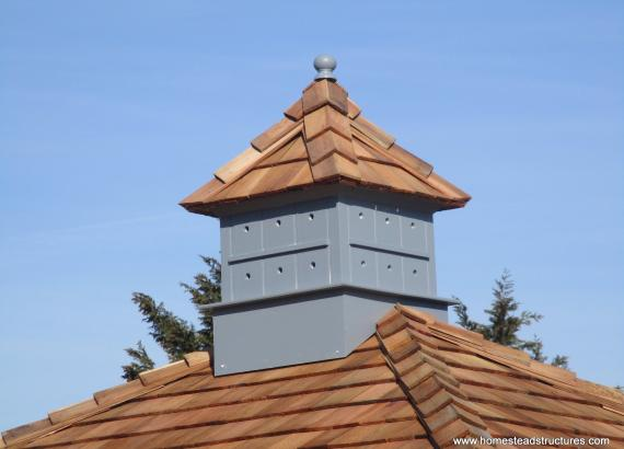 Birdhouse cupola with cedar shakes on an 8x10 Classic Hip Shed
