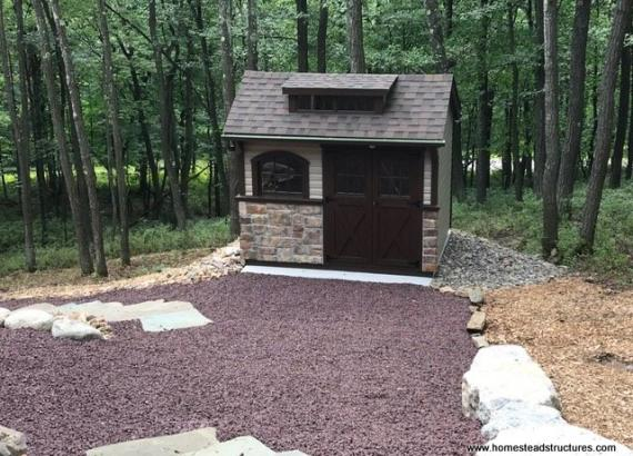 8' x 10' Laurel Carriage House Shed with Transom in Hazle Township, PA