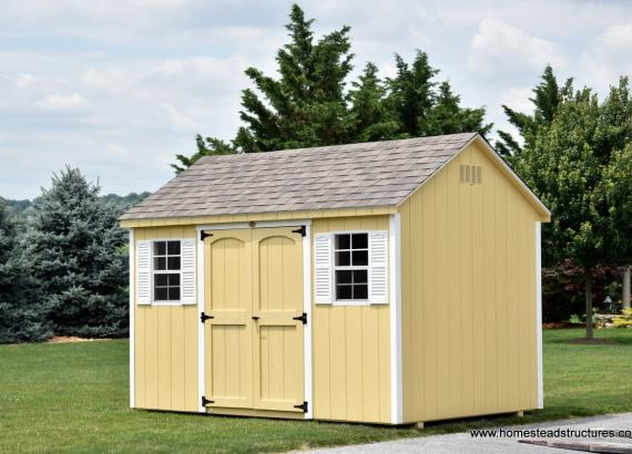 8' x 12' Keystone A Frame Shed in Cream Color