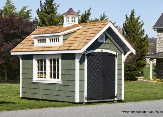 8' x 12' Premier Garden Shed with transom windows and cupola