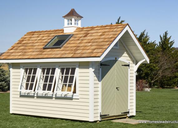 8 x 12 Premier Garden Shed with cupola, skylight & 3 tiltout windows